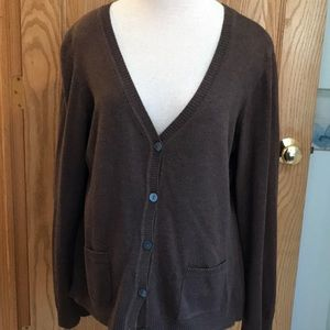 Van Heusen brown button down sweater cardigan